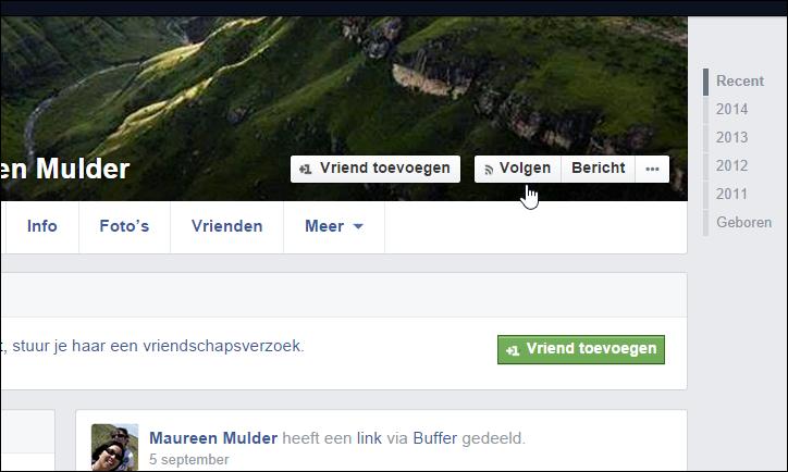 Facebook volgknop Faceonline