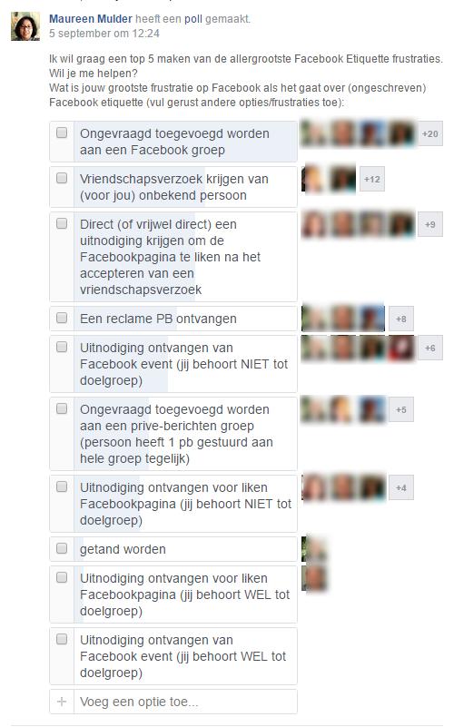 Poll frustraties Facebook
