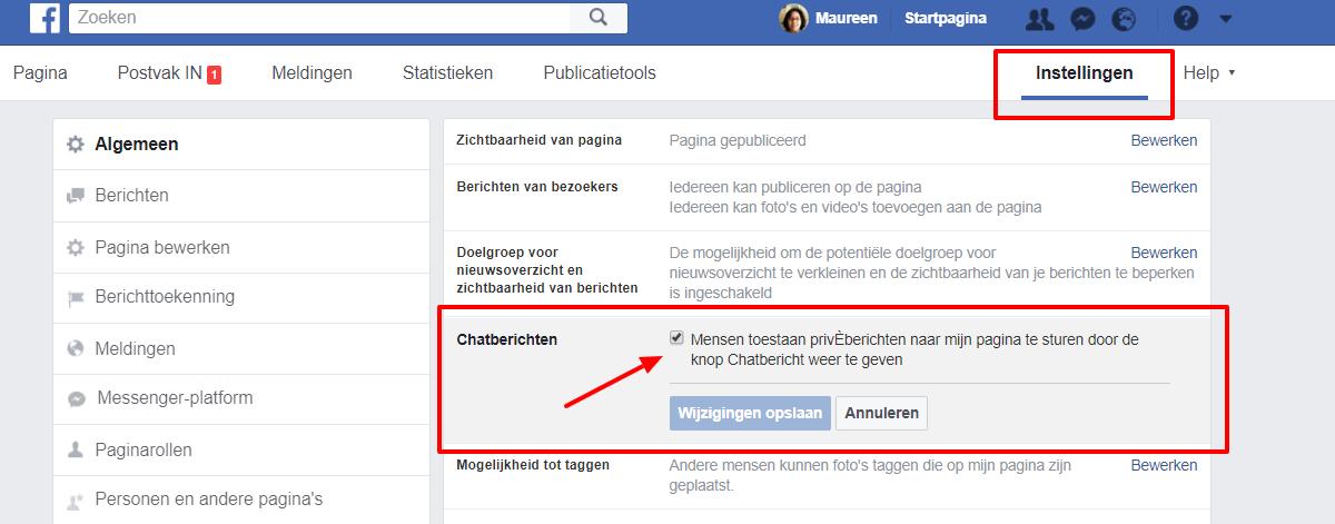optie chatberichten uitschakelen - Maureen Mulder maureenmulder.nl